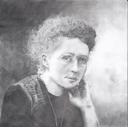 """""""Marie Curie"""" lyijykynäpiirros"""