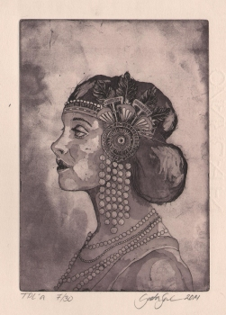 woman's profile, etching and aquatint