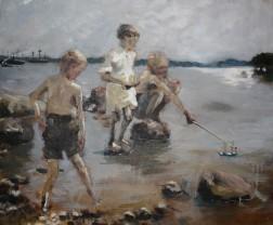 Leikkiviä poikia rannalla Albert Edelfeltin mukaan, oil on canvas 78cm x 66cm