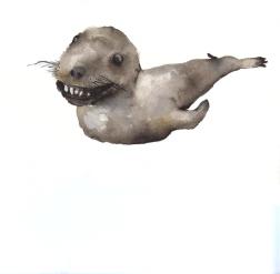 Badly stuffed animals; Seal, aquarelle