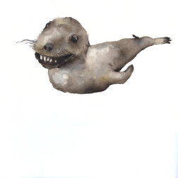 Badly stuffed animals; Seal, aquarelle