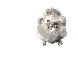 Badly stuffed animals; Hedgehog, aquarelle
