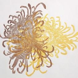 Chrysanthemum, woodcut 70cm x 50cm 2018