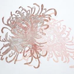 Chrysanthemum, woodcut 70cm x 50cm, 2018